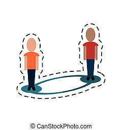 people connecting social media-dotted line vector...