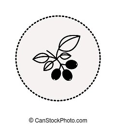 circular sticker silhouette coffee tree branch with leaves...