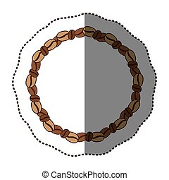 silhouette color sticker with round chain with coffee beans...