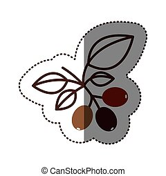 silhouette color sticker with coffee tree branch vector...