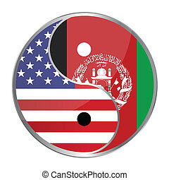 Ying Yan - Ying yan symbol with the American and Afghan...