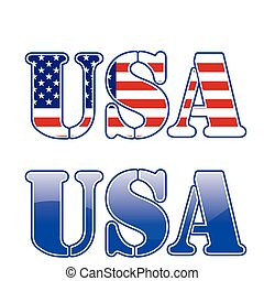 usa red white and blue text sign with stars and stripes.