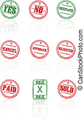 Vector rubber stamps on white backg