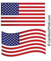 EUA, bandeira, vetorial, Ilustração