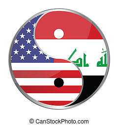 Ying Yan - Ying yan symbol with the American and Iraqi...
