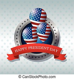 happy president day flag balloons ribbon label