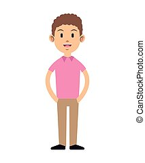 young guy curly hair pink t-shirt