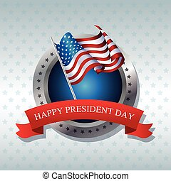happy president day flag poll ribbon label vector...