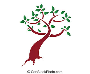 Stylised tree - Green stylized tree with roots vector file...
