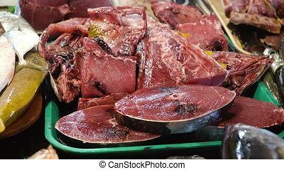 Fish in Asian market. - Fresh Tuna fish in Asian market....