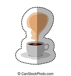 sticker colroful porcelain cup coffee with smoke arom vector...