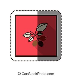 color sticker silhouette in square frame with coffee tree...