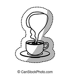 sticker silhouette cup coffee with smoke arom vector...