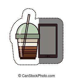 silhouette sticker color with glass of cappuccino and smart phone