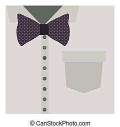 close up formal shirt with bow tie