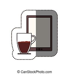 silhouette sticker color with coffee cup and tablet