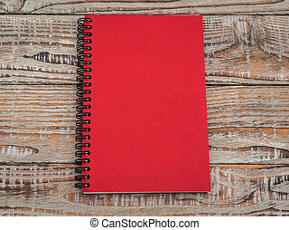Blank notebook mock up on wood background . - Blank notebook...