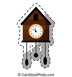 brown cuckoo clock icon image, vector illustration design
