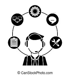 technical service and call center icon, vector illustration...