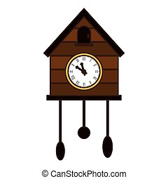 brown cuckoo clock icon image, vector illustration design