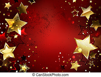 Red background with gold stars - Red textured background...