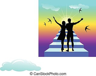 Staiway to heaven. Vector illustration with sample text -...