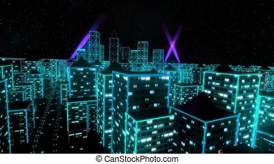 Neon city fly over urban skyscraper glow computer matrix