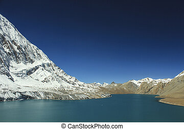 Tilicho lake ( 4,919 m ) in the Annapurna range of the...