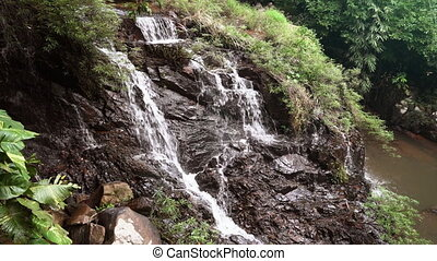 mountain waterfall in the tropical jungle