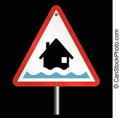 Flood Alert Warning - Amber flood alert warning sign fixed...
