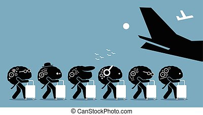 Brain drain cartoon. - Vector artworks depicts emigration of...