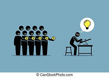 Crowdfunding or crowd funding. - Vector artwork depicts...