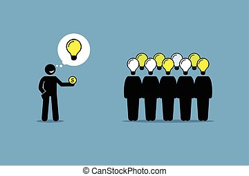 Crowdsourcing or crowd sourcing. - Vector artwork depicts...