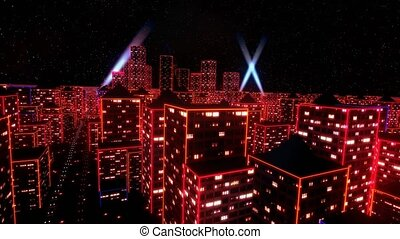 Neon city fly over urban skyscraper glow computer tron...