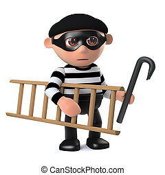 3d Funny burglar takes his ladder and crowbar to work with...