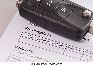 Car insurance - car key and letter For fully comprehensive...