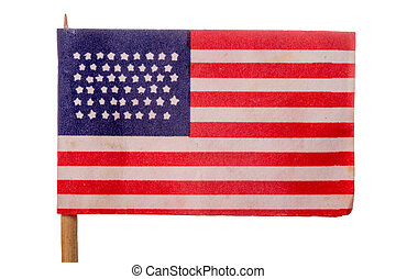 USA - American flag on white background