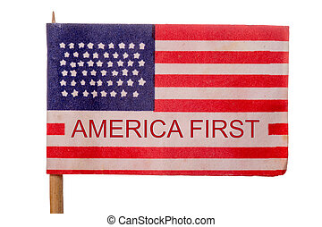 USA - American flag with the words America First