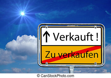 Place Sign with the german words Sold and Sell