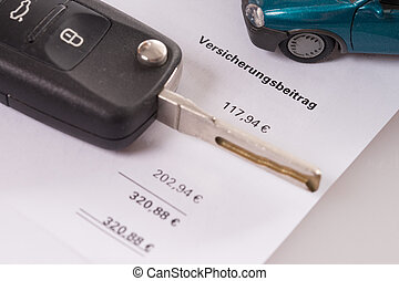 Car insurance - Car key and letter to the car insurance...