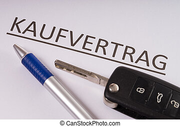 Purchase contract with pen and car key
