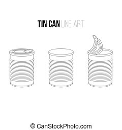 Tincan, canned food line art icons isolated on white tin....
