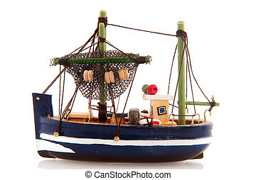 Fishing boat - Little wooden fishing boat miniature isolated...