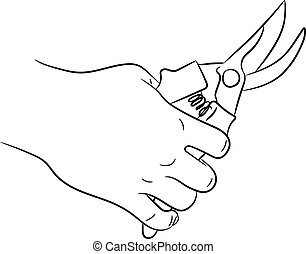 hand holding secateurs of monochrome vector illustration