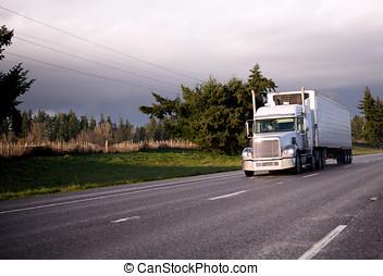 De par en par, semi, reefer, camión, unidad, refrigeración,...