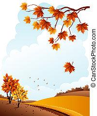 Autumn landscape - autumn rural landscape and maple branch