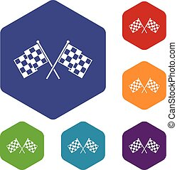 Checkered racing flags icons set rhombus in different colors...