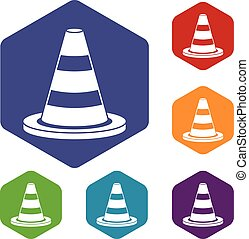 Traffic cone icons set rhombus in different colors isolated...