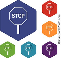 Stop road sign icons set rhombus in different colors...