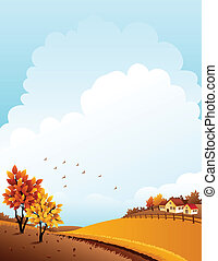 Autumn landscape - Vector illustration - autumn rural...